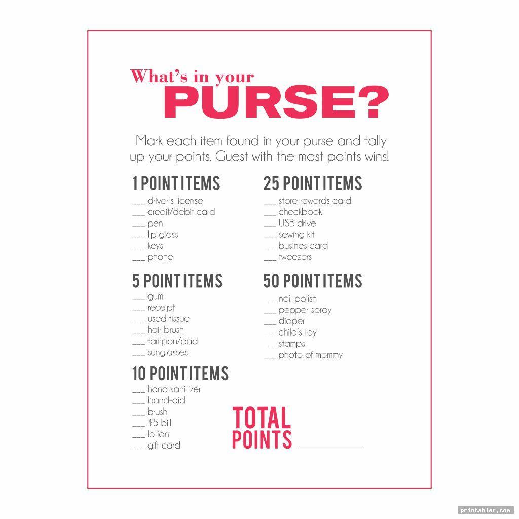 bridal shower purse game printable image free