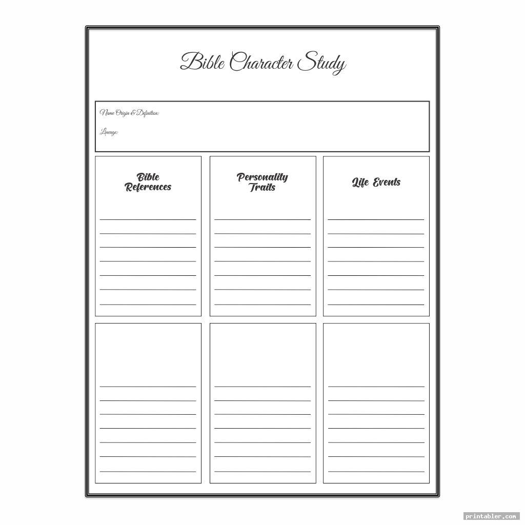 character study bible study notebook template printable