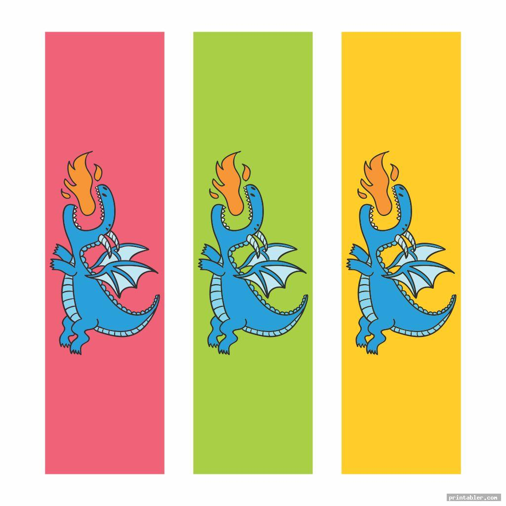 colorful dragon bookmarks printable