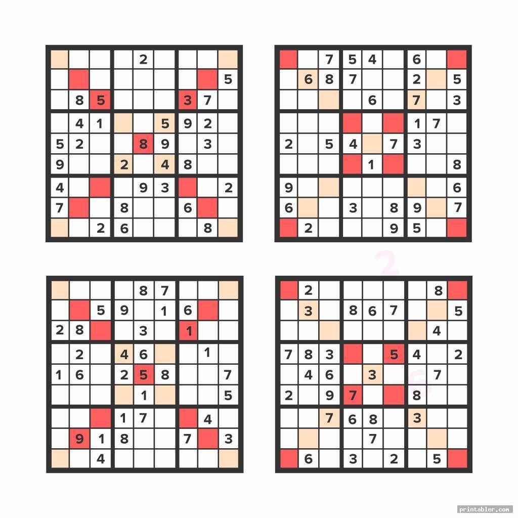 colorful medium printable sudoku puzzles 4 per page