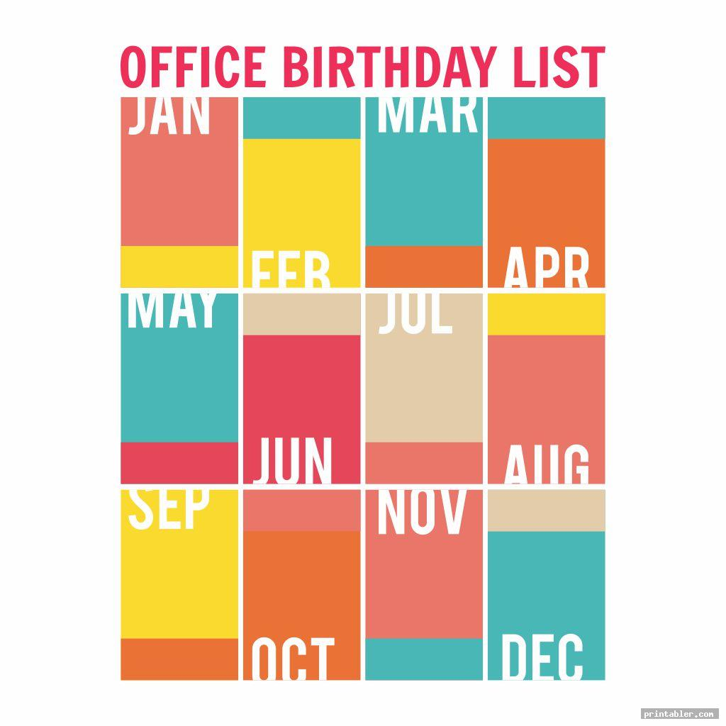 colorful office birthday list printable