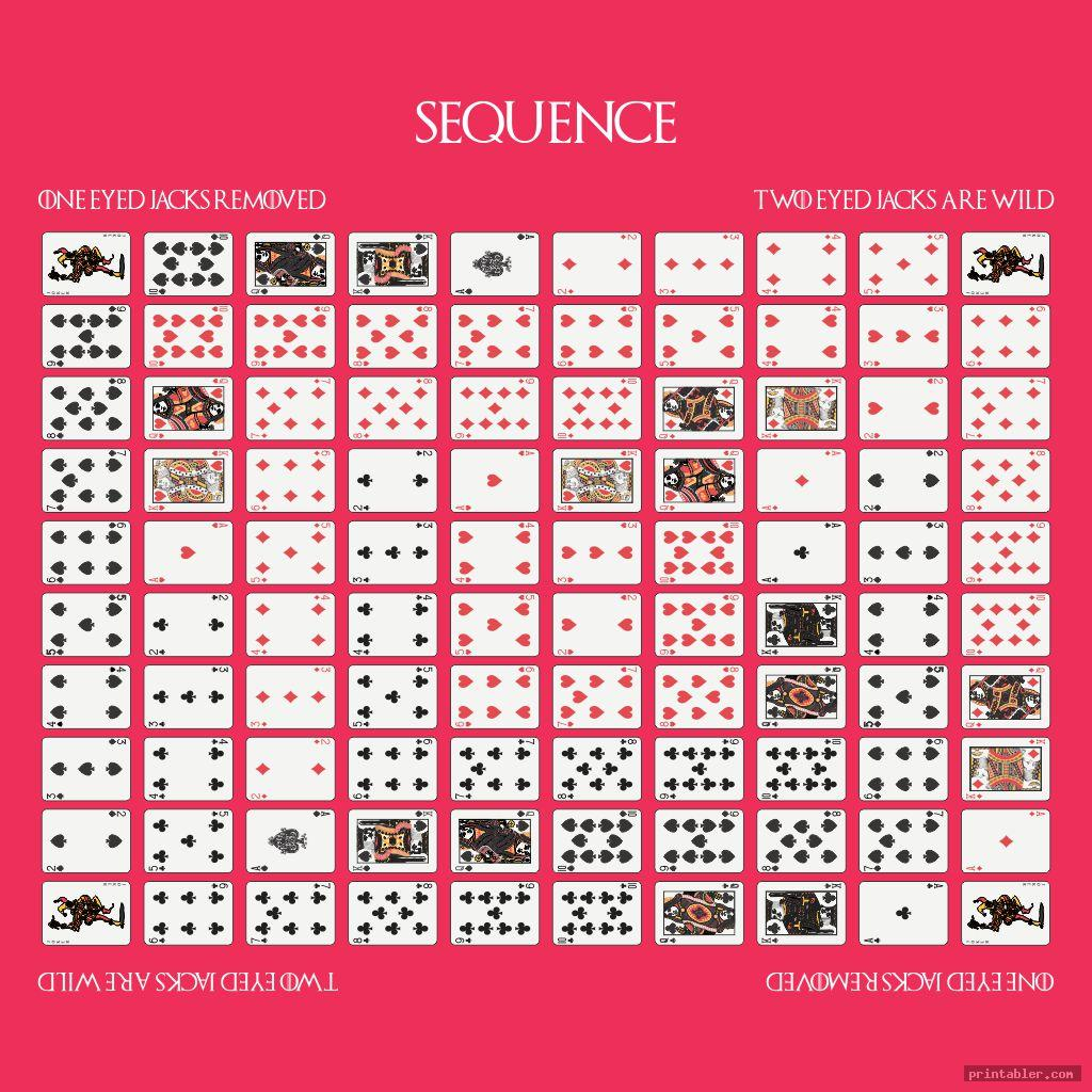 colorful sequence game board layout printable