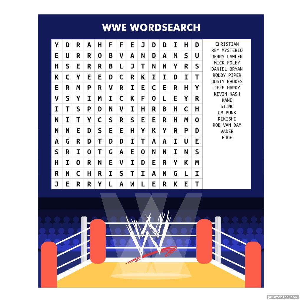 colorful wwe word search printable