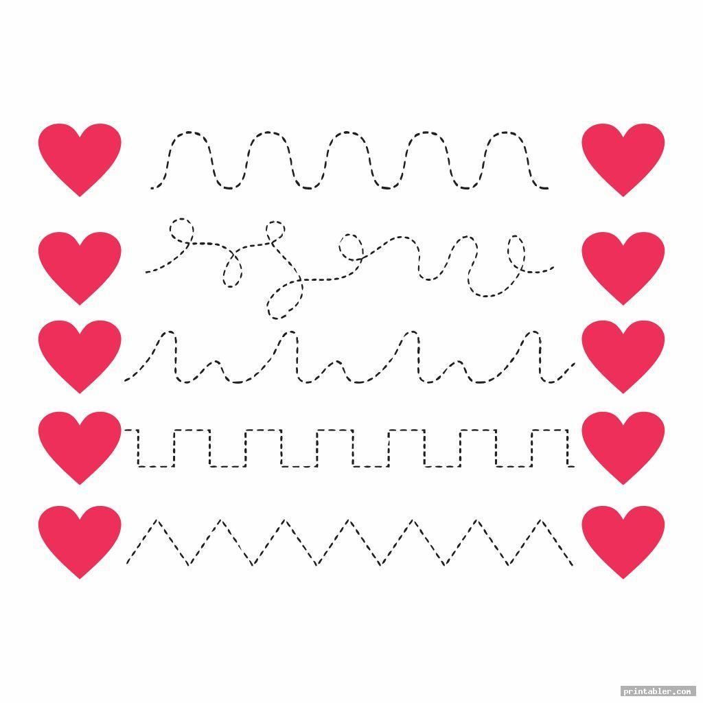 Line Tracing Valentine Printables