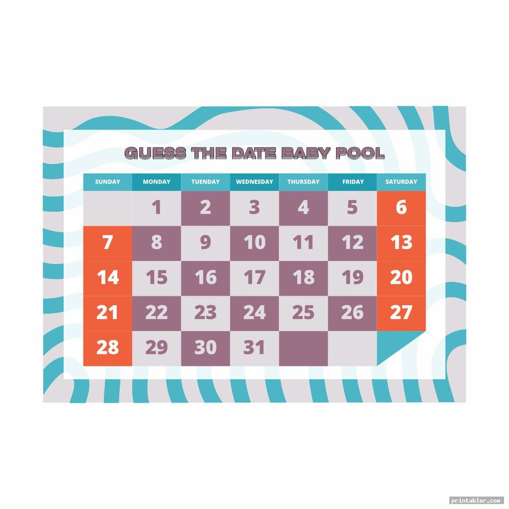 cool baby due date pool template printable