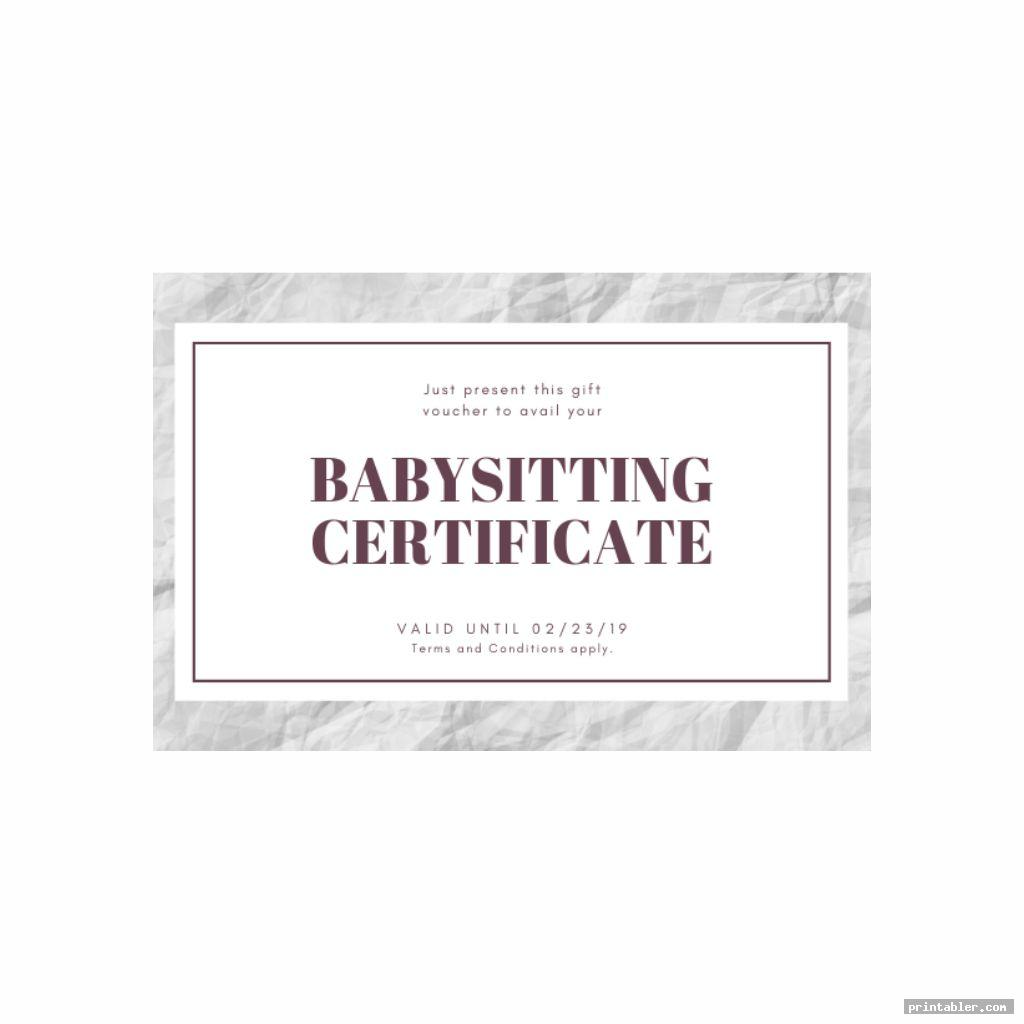 cool babysitting gift certificate template printable