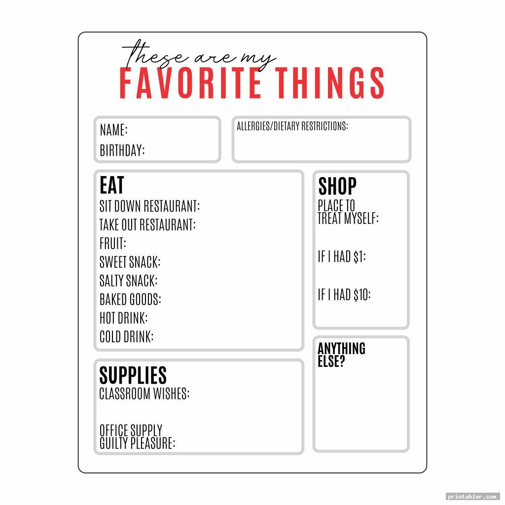 Favorite Things List Template Printable
