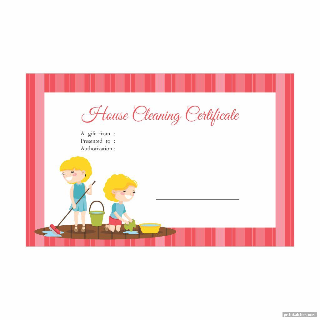 cool house cleaning gift certificate template printable