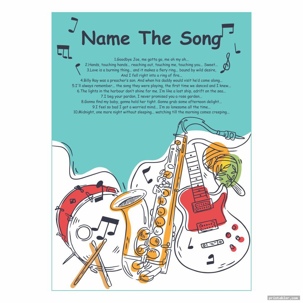 Love Name That Song Games Printable