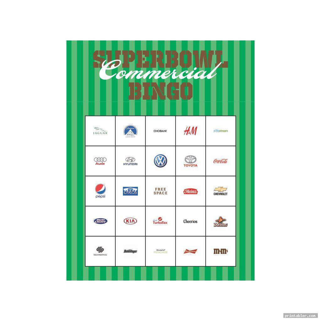 cool printable 2015 super bowl commercial bingo