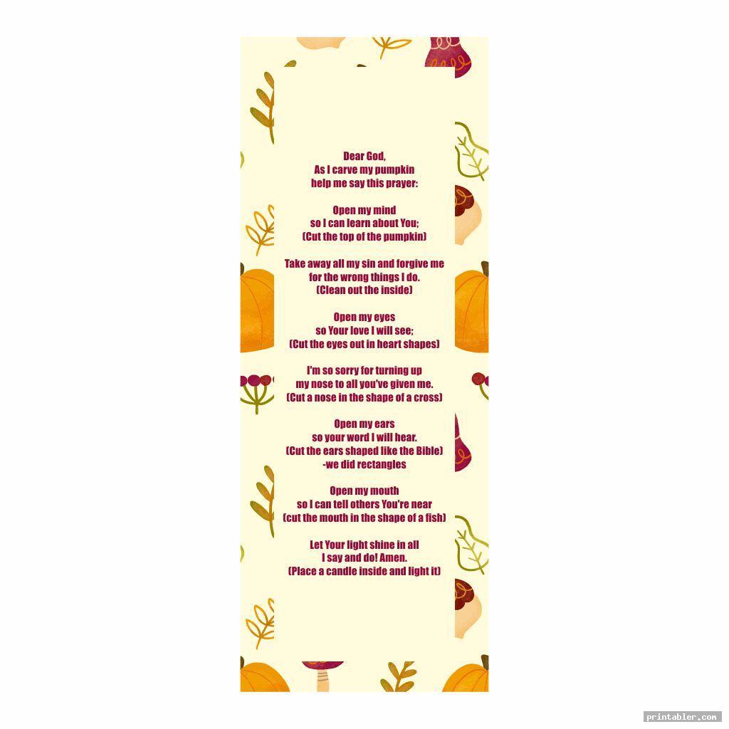 cool pumpkin prayer bookmark printable