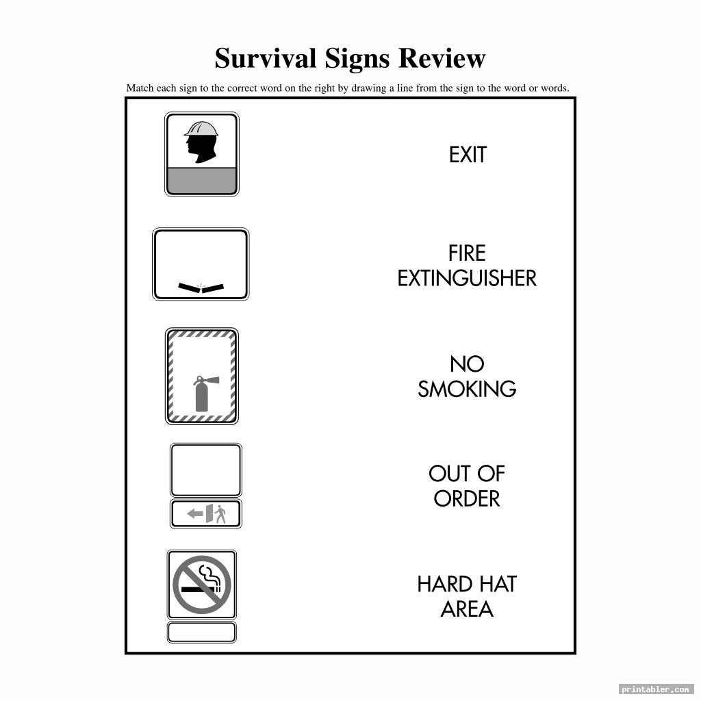 Survival Signs Worksheets Printable
