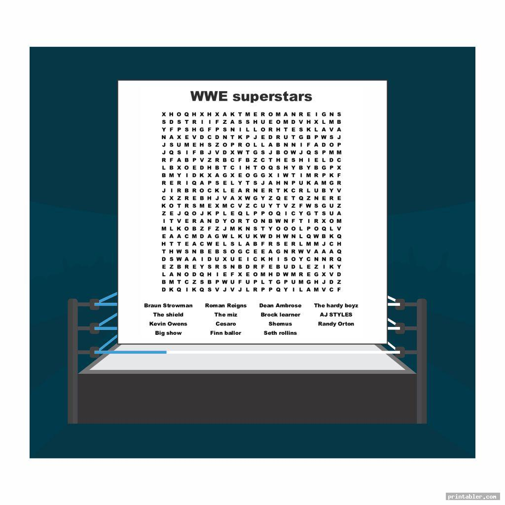 cool wwe word search printable