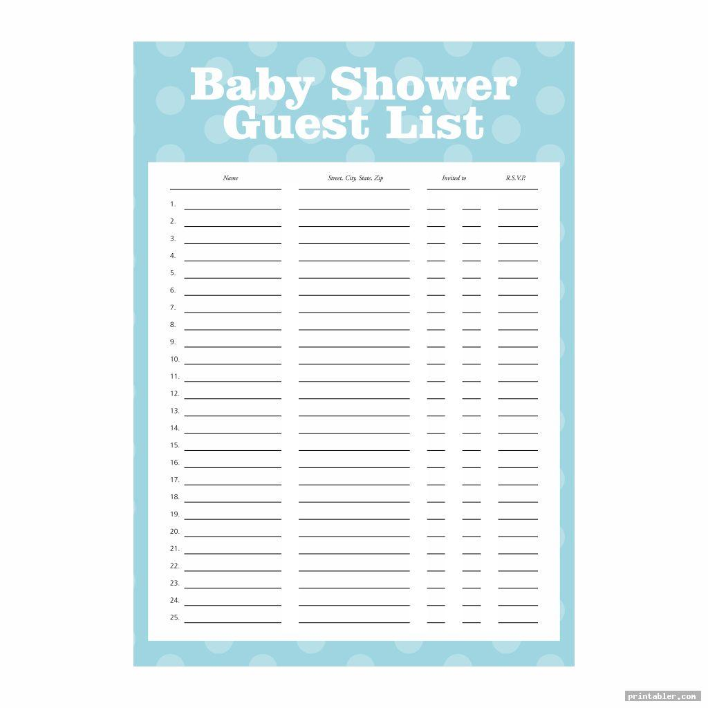 cute baby shower guest list printable