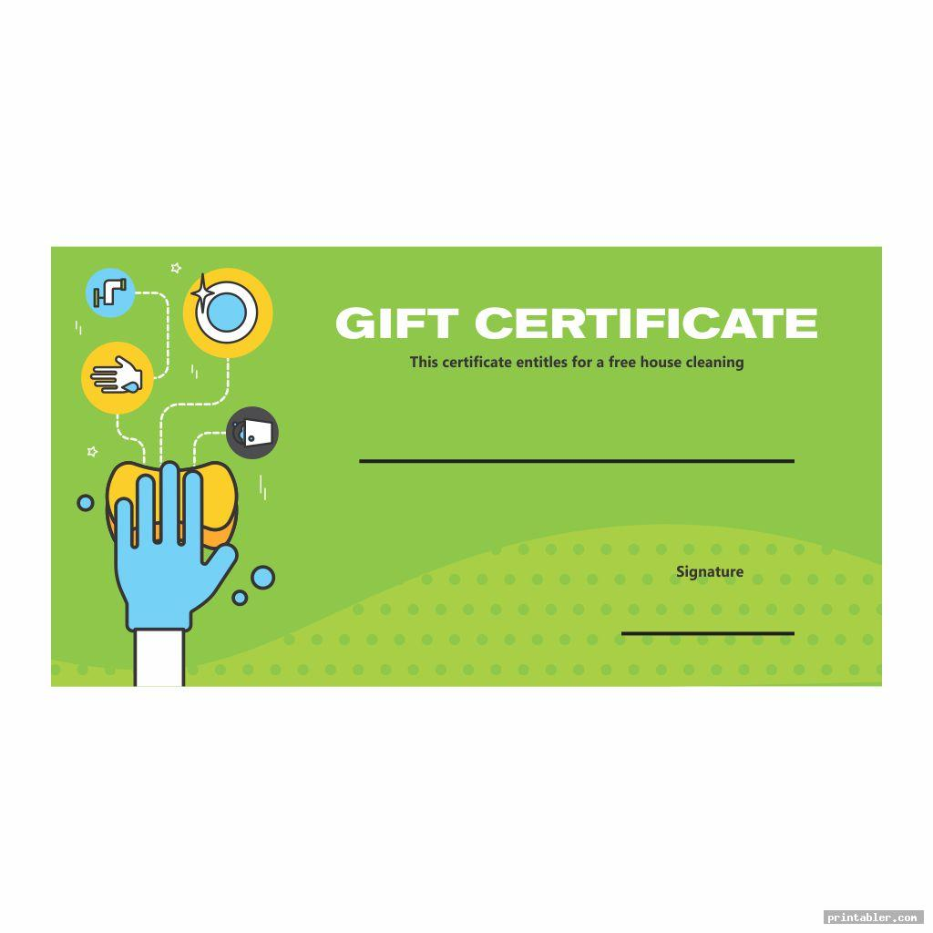 cute house cleaning gift certificate template printable