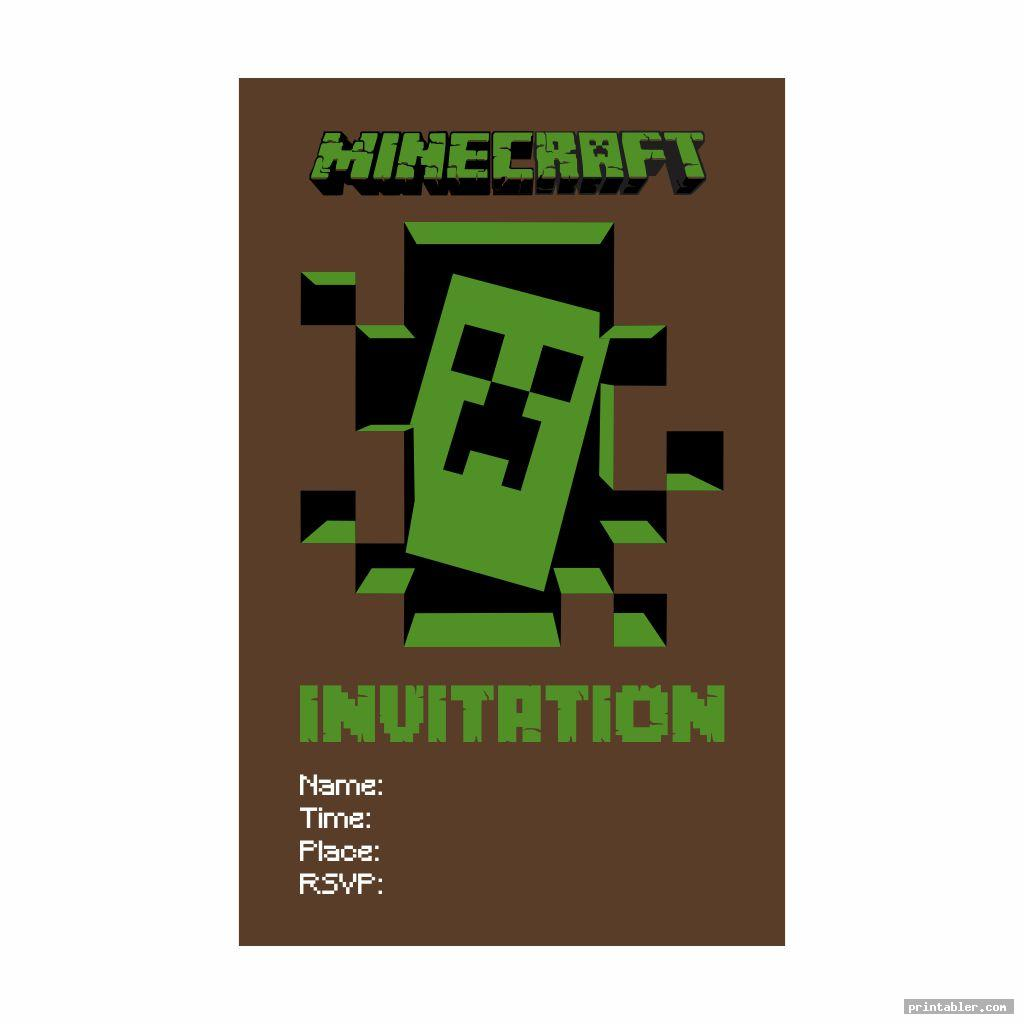 cute minecraft party invitation template printable