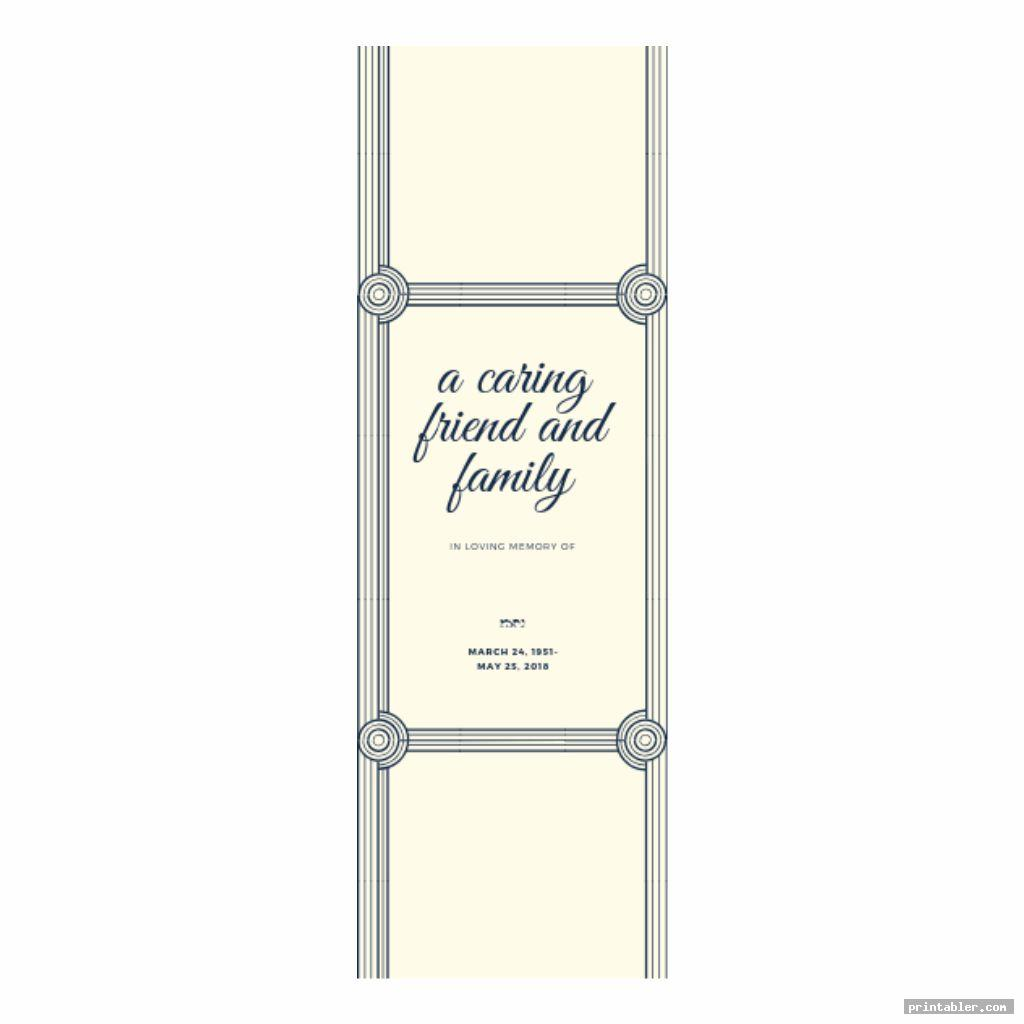 cute obituary bookmark template printable