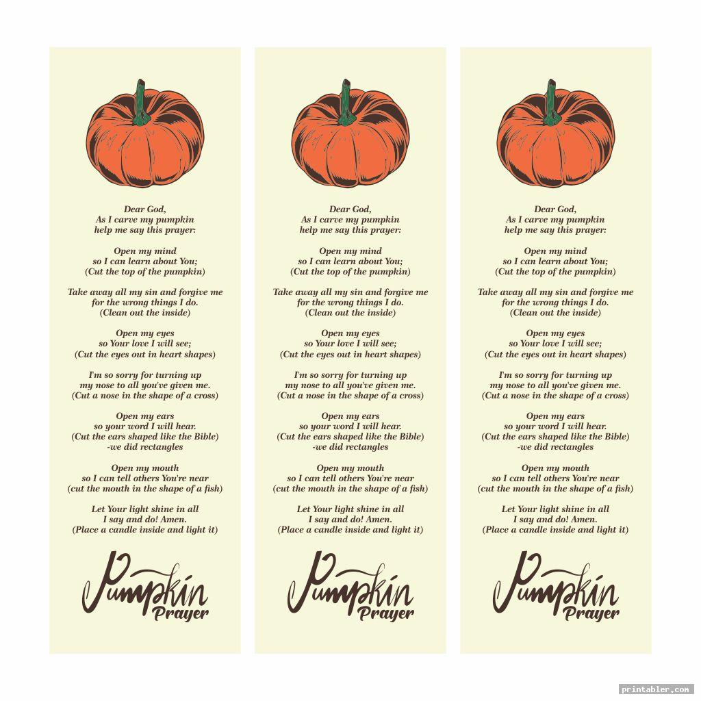 Pumpkin Prayer Bookmark Printable