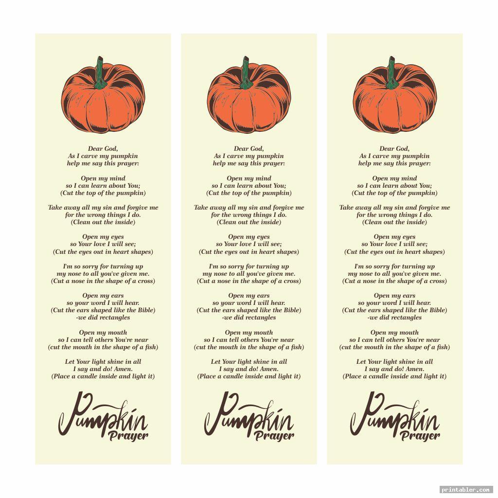 cute pumpkin prayer bookmark printable