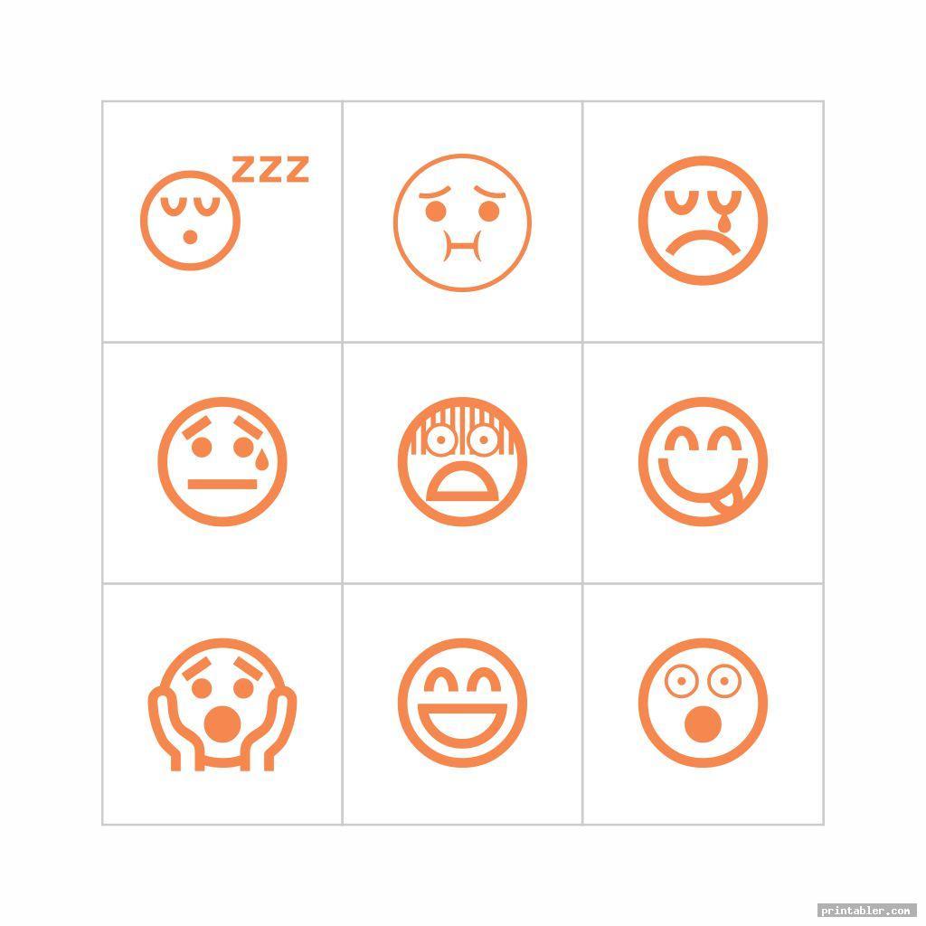 Feelings Bingo and Face Emoticons Printable