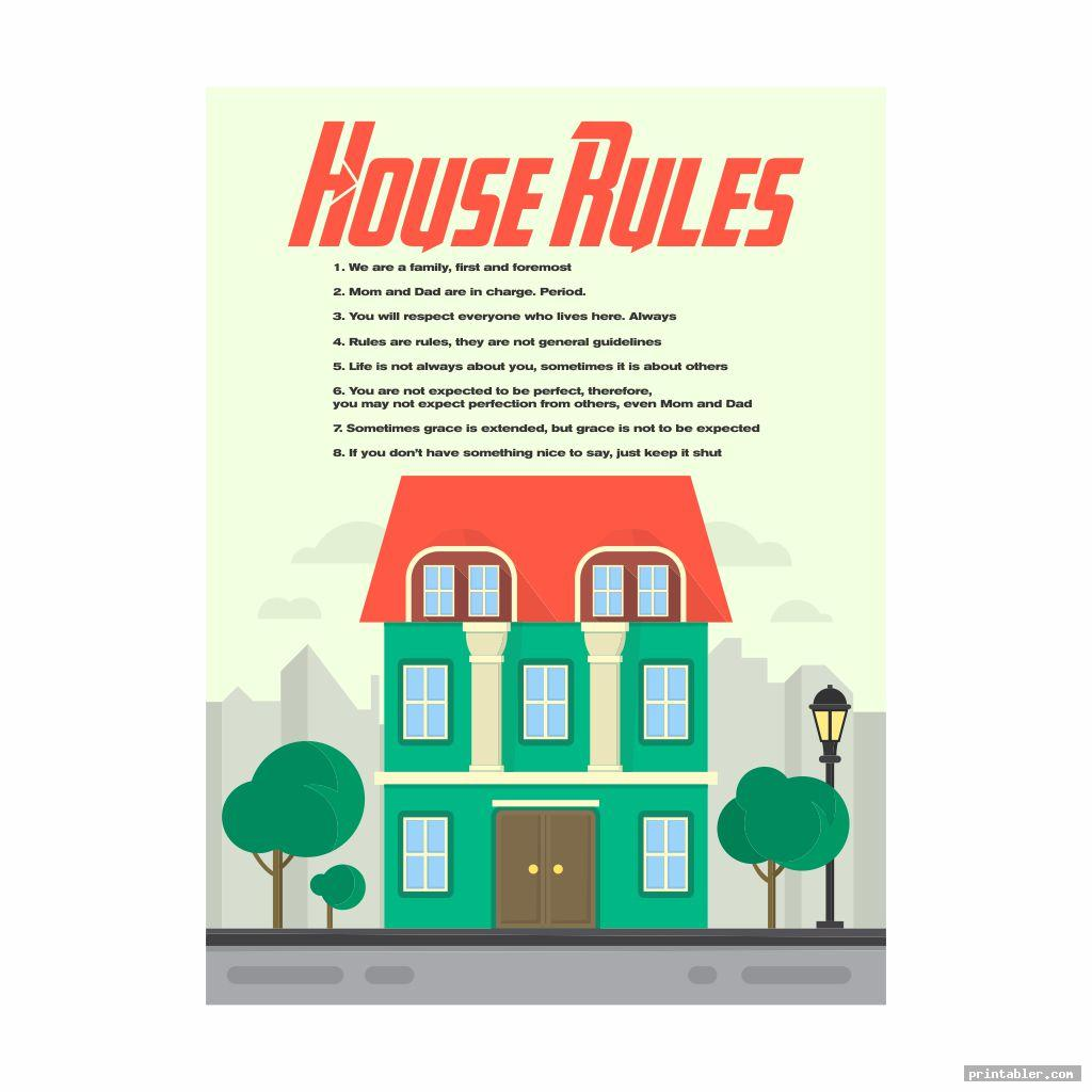 House Rules and Notification Printable