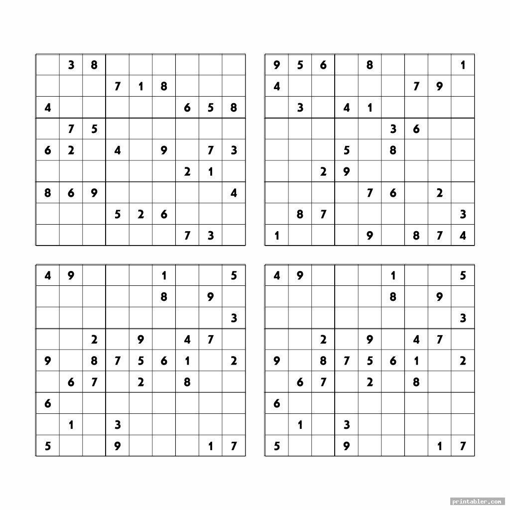 medium printable sudoku puzzles 4 per page image free