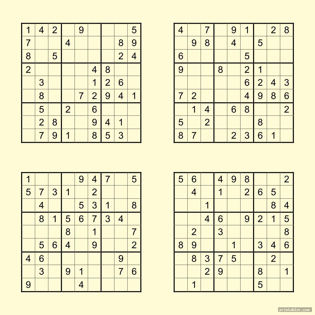medium printable sudoku puzzles 4 per page template for use