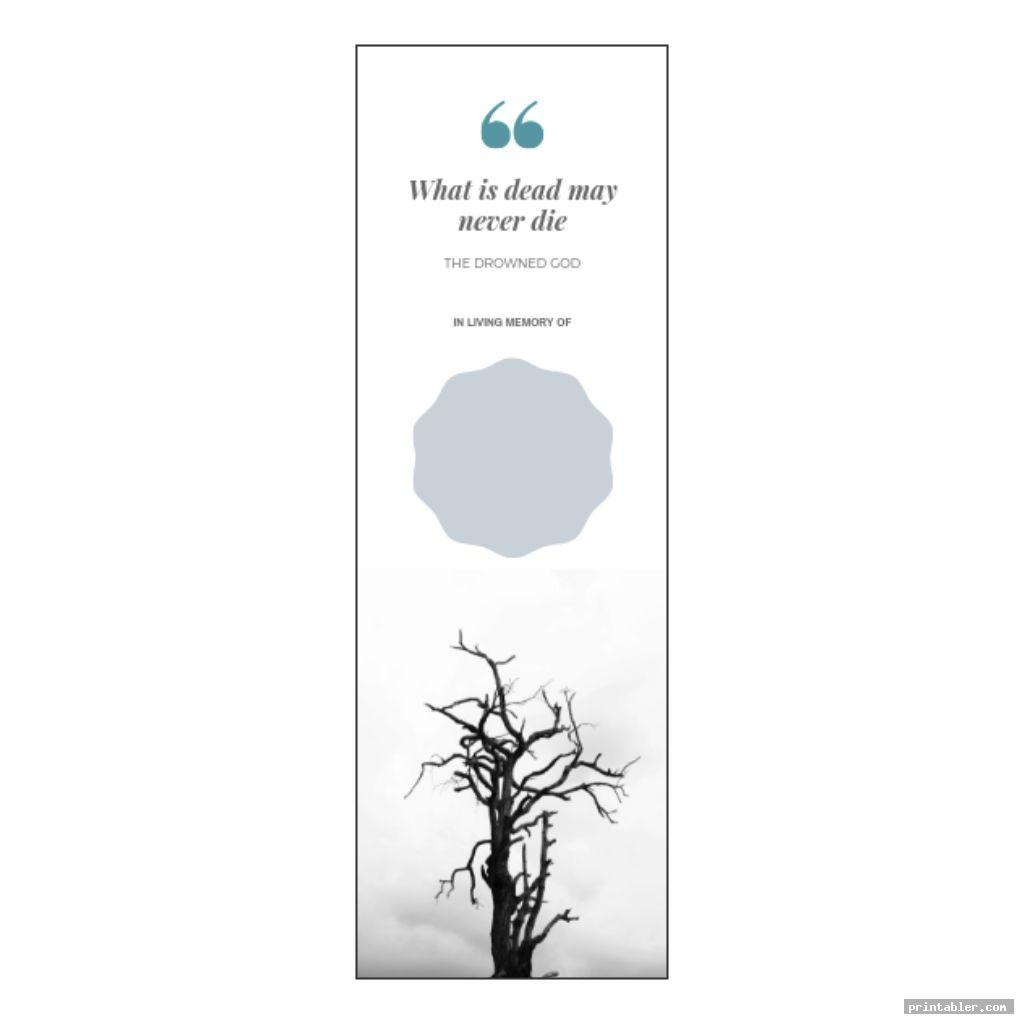 obituary bookmark template printable for use