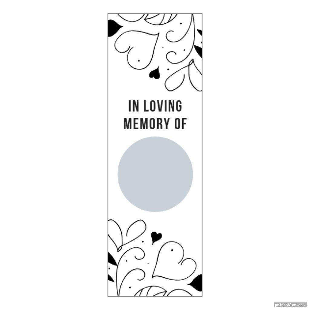 obituary bookmark template printable image free