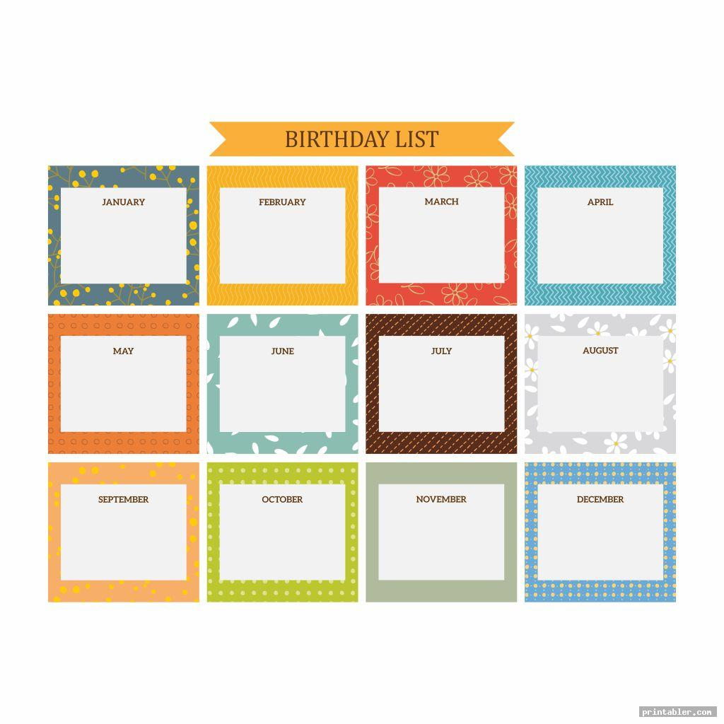 Colorful Office Birthday List and Table Printable