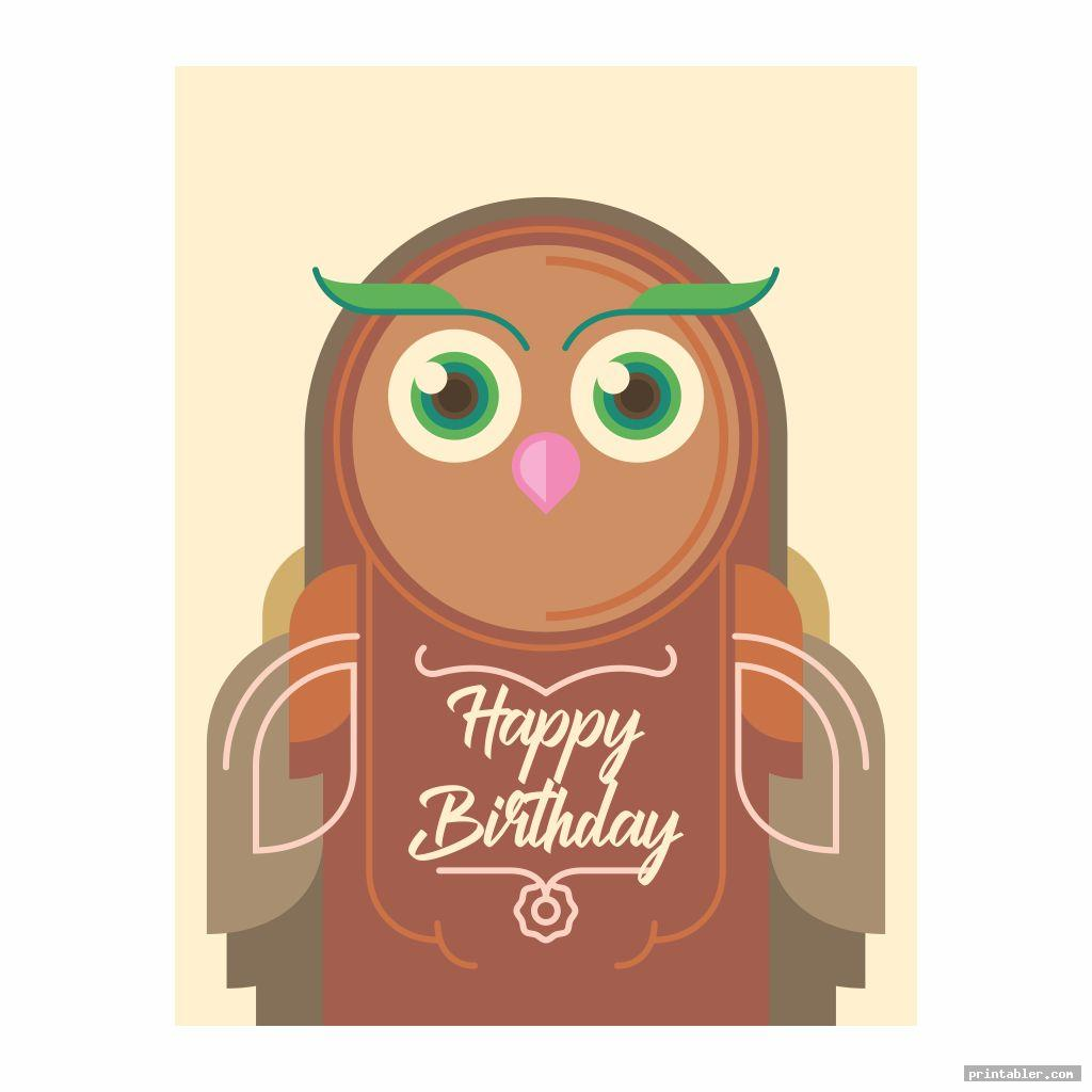 Owl Birthday Cards Printable - Cute and Colorful