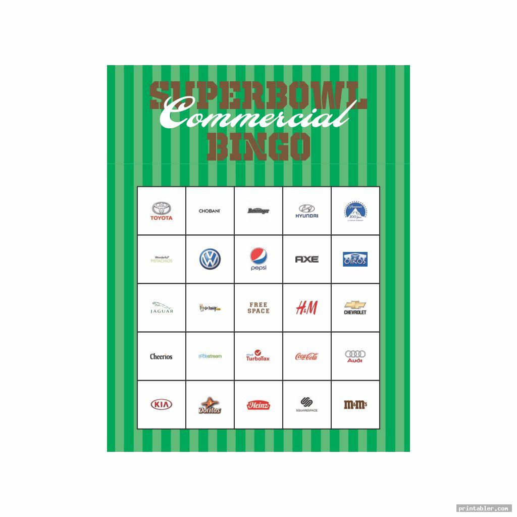 printable 2015 super bowl commercial bingo template for use