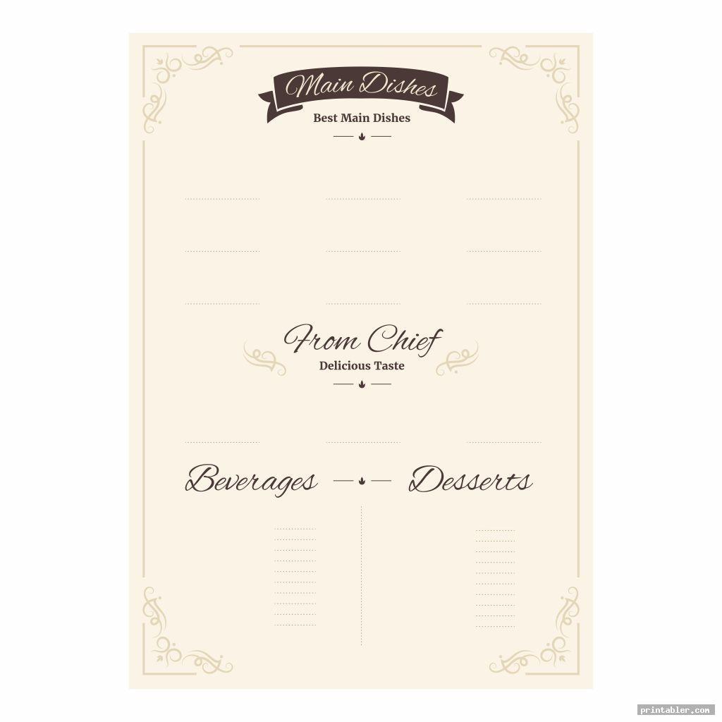 printable blank restaurant menus image free