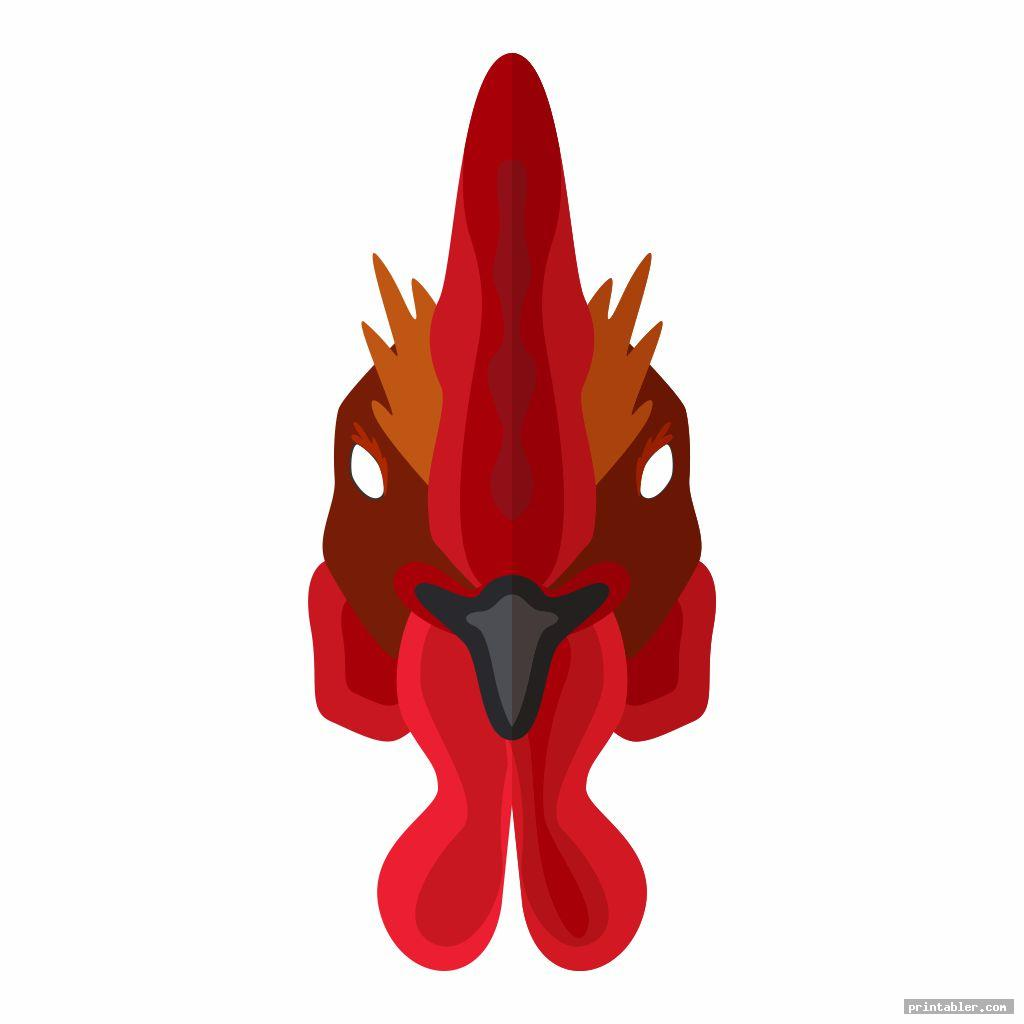 realistic rooster mask template printable