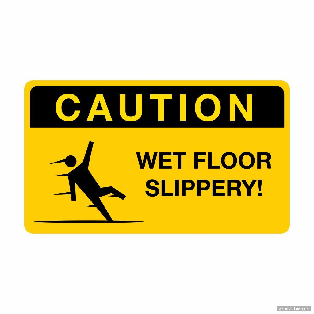 rectangular caution wet floor sign printable