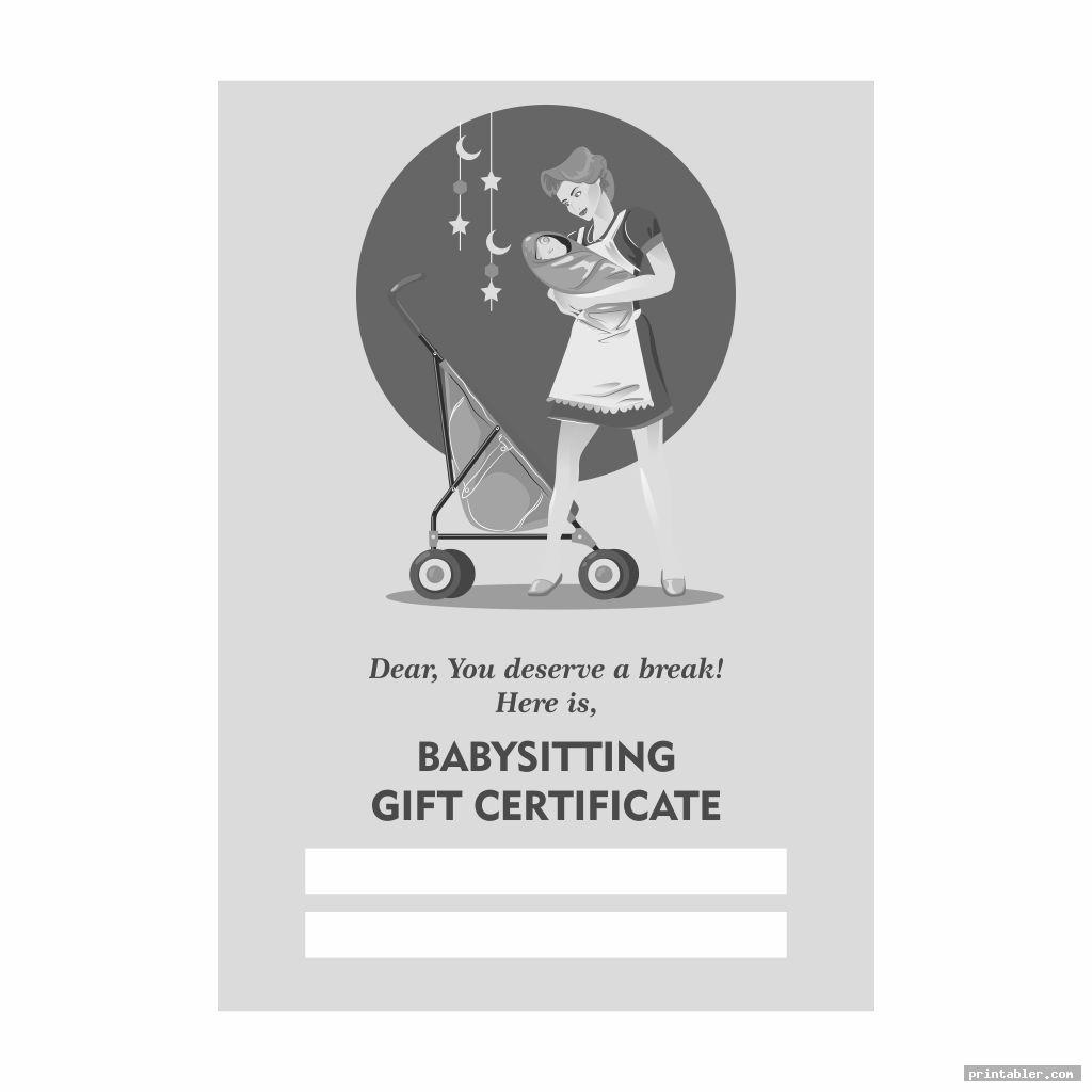 retro babysitting gift certificate template printable