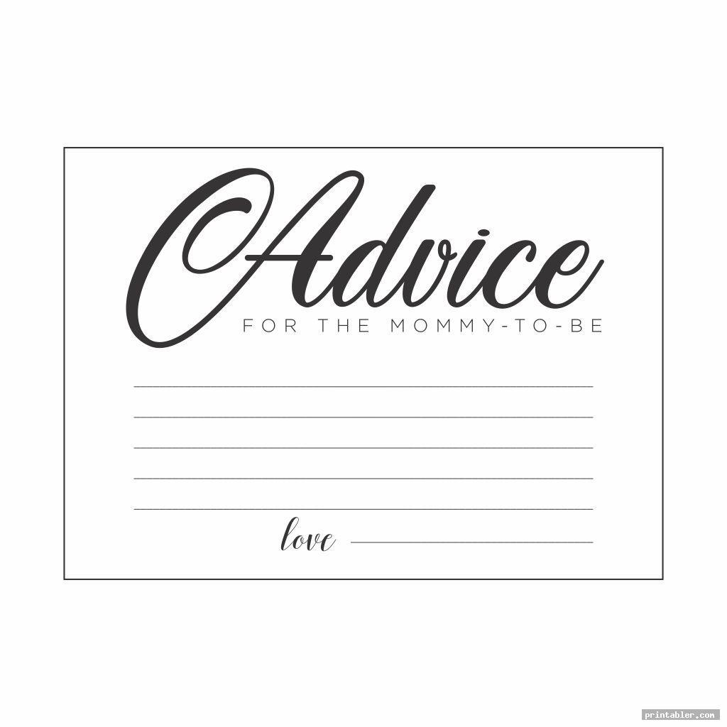 simple baby advice cards printable