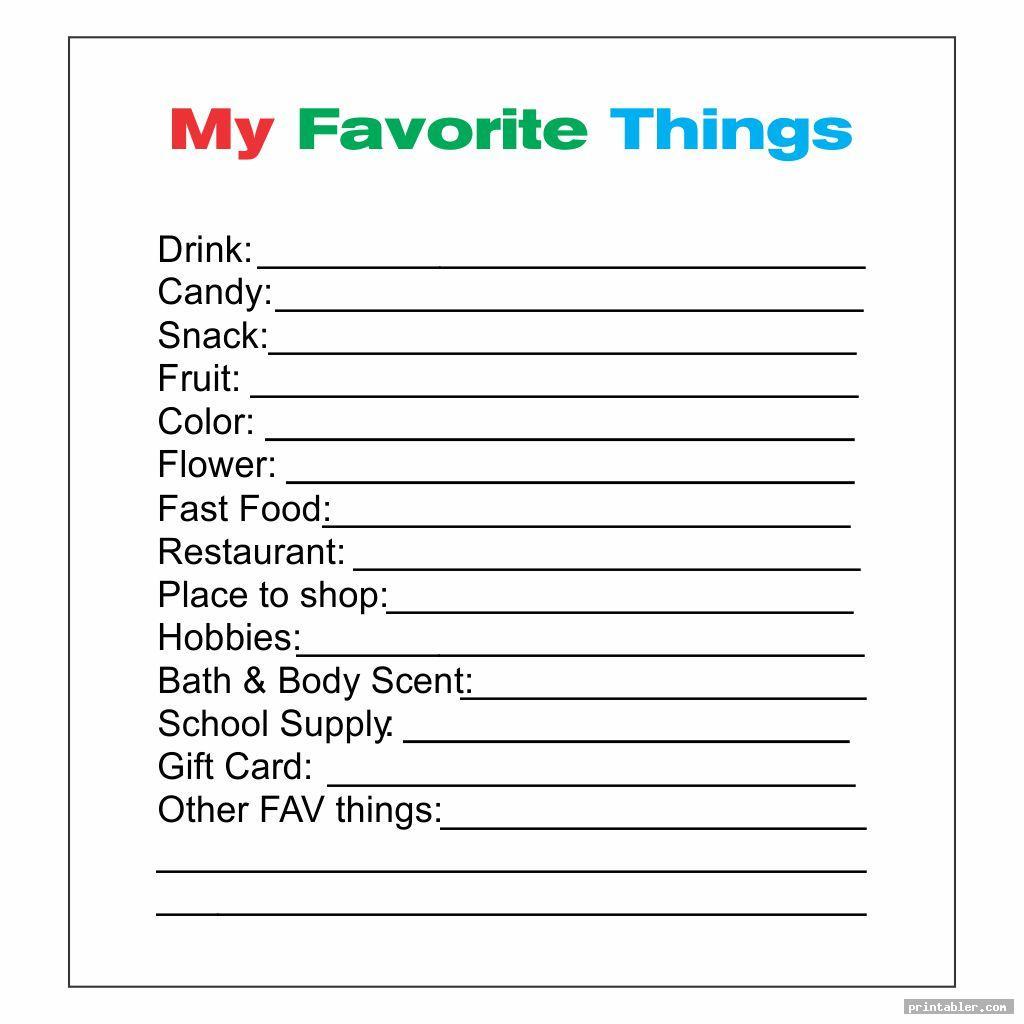simple favorite things list template printable