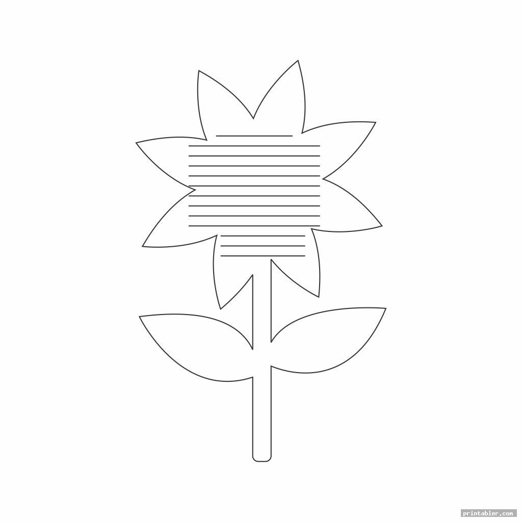 simple flower writing template printable