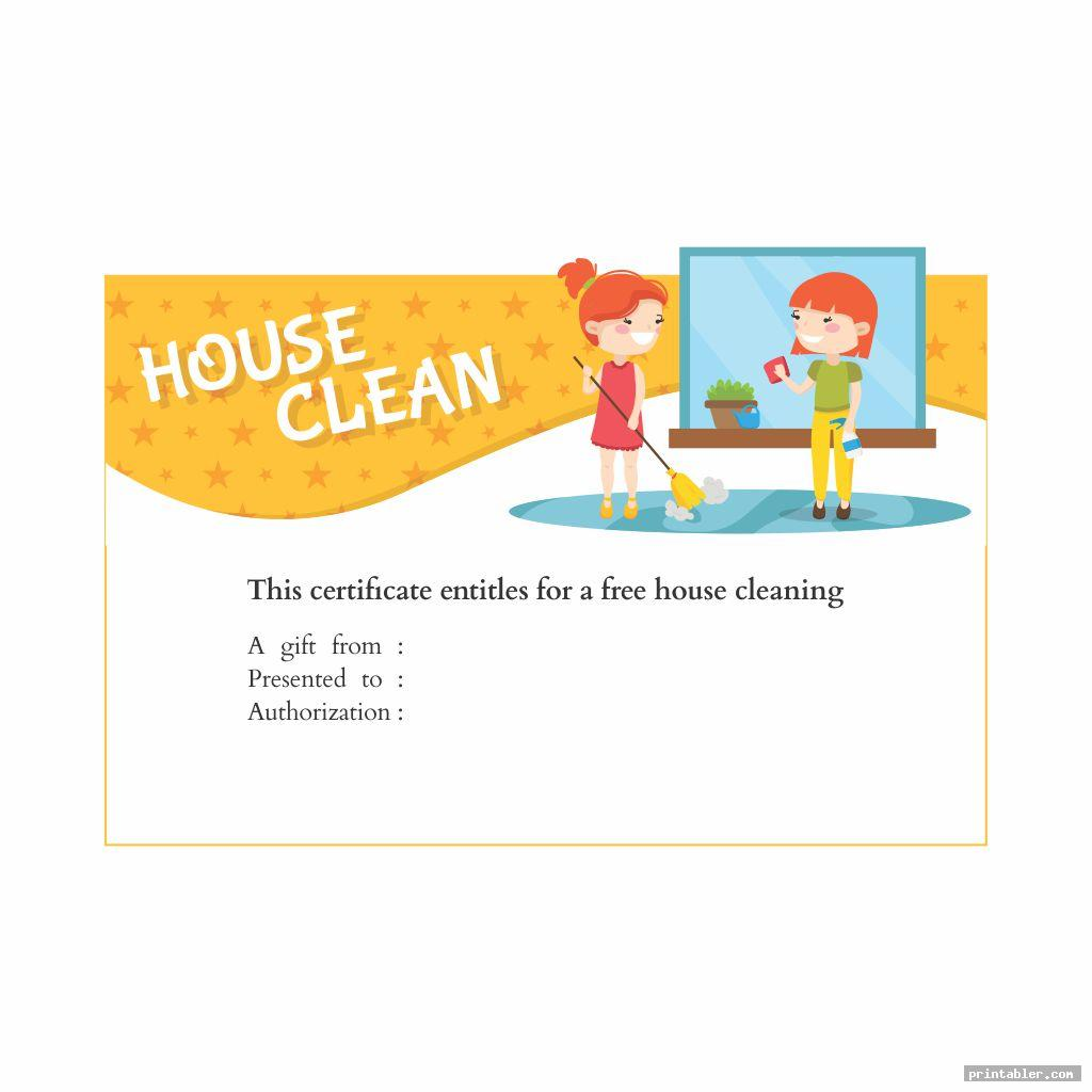 simple house cleaning gift certificate template printable