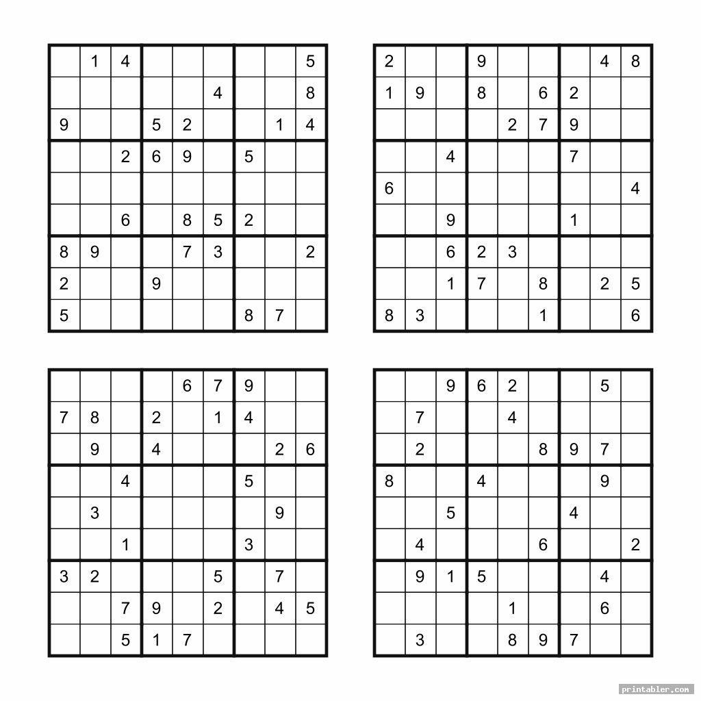 simple medium printable sudoku puzzles 4 per page
