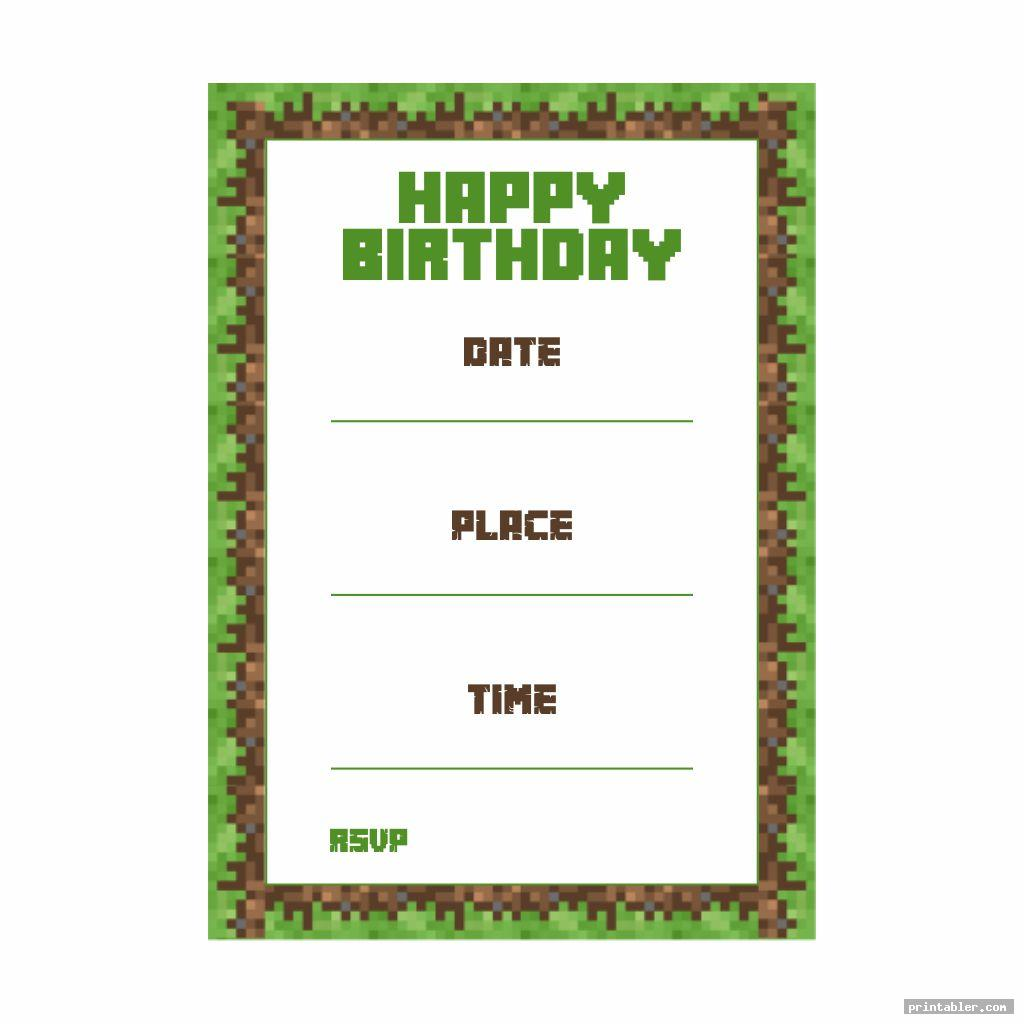 simple minecraft party invitation template printable