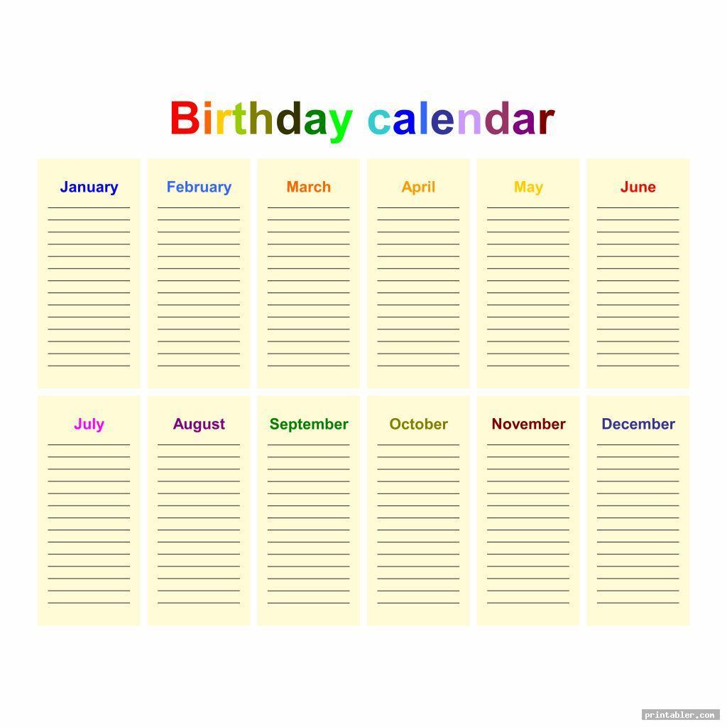 simple office birthday list printable