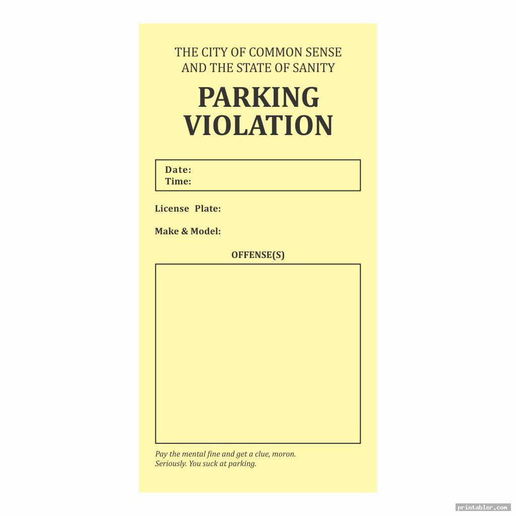 simple parking violation ticket template printable