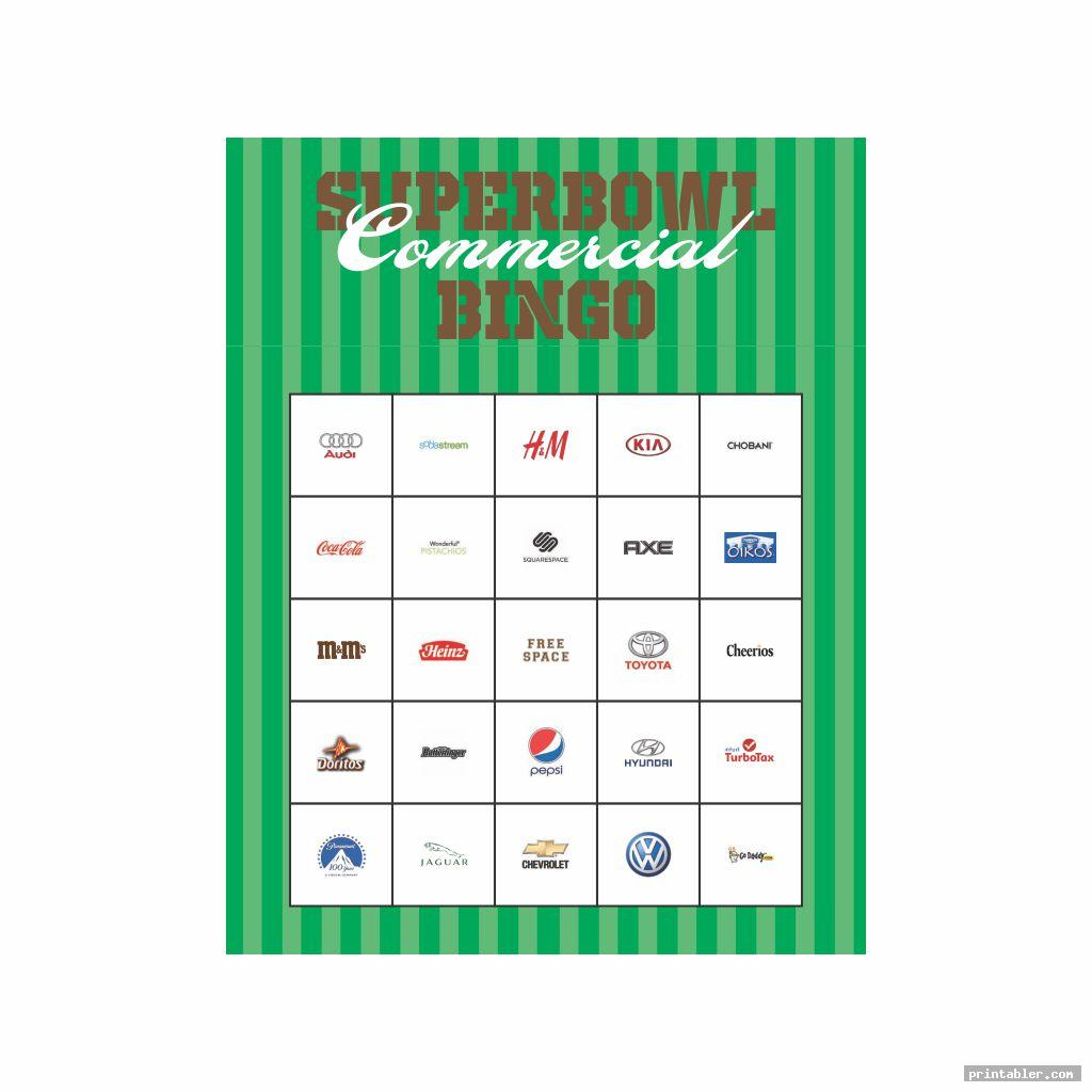 simple printable 2015 super bowl commercial bingo
