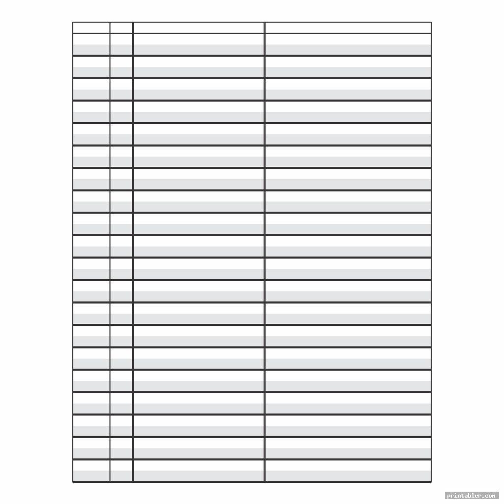 simple printable 4 column paper