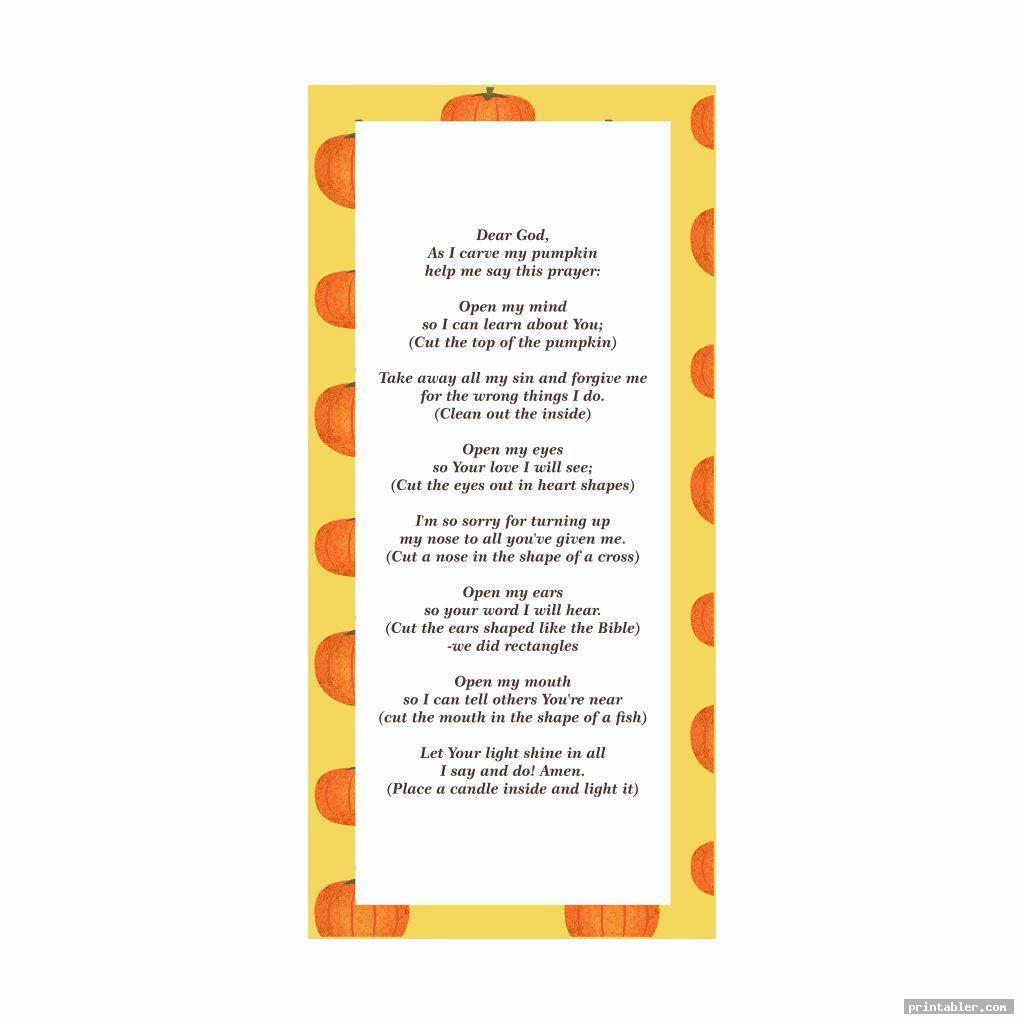 simple pumpkin prayer bookmark printable