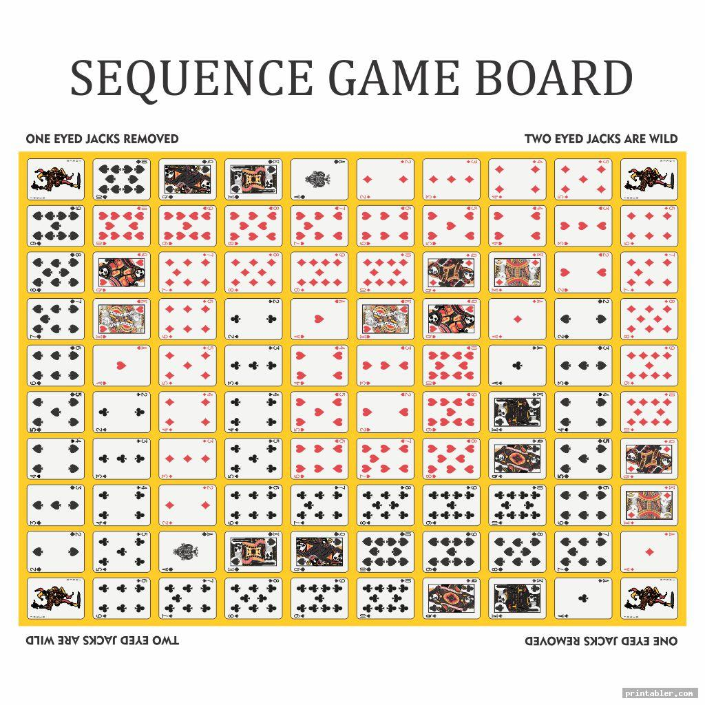 simple sequence game board layout printable
