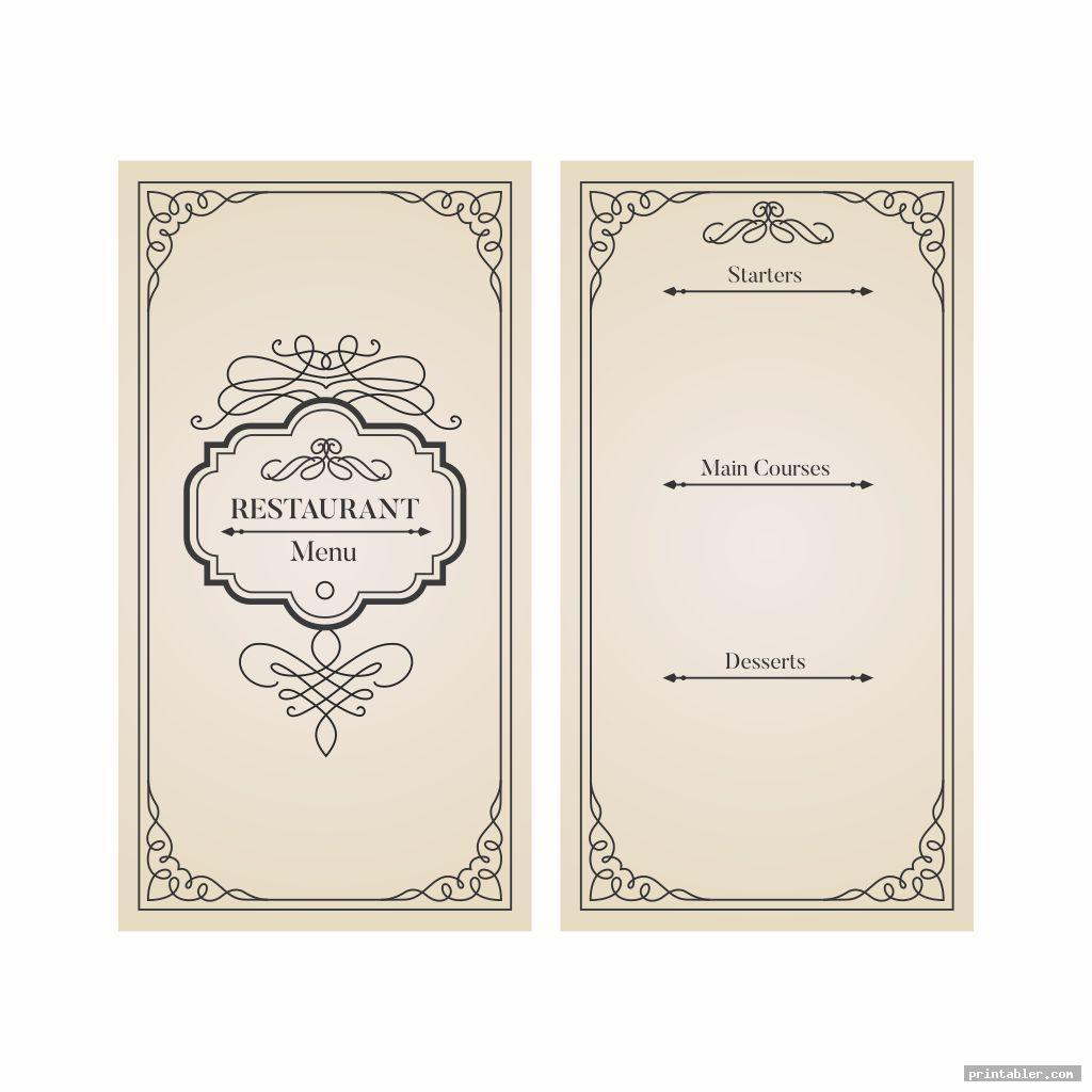 vintage printable blank restaurant menus