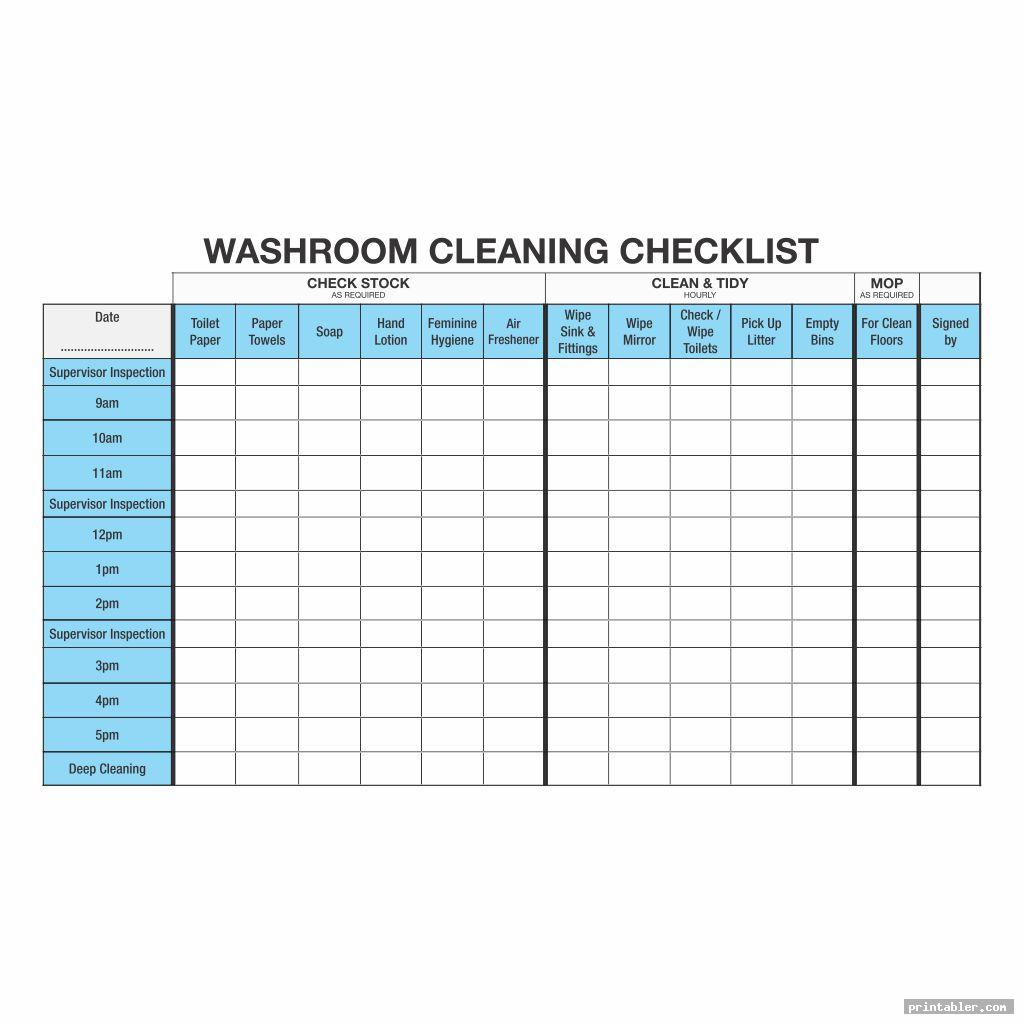 Bathroom Cleaning Log Template Printable